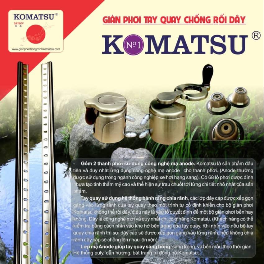 Giàn Phơi Thông Minh KOMATSU LUX888-BF (Model 2021) chống rối dây