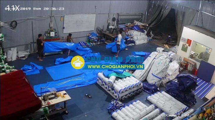 Sản xuất may ép ra công bạt mái hiên xếp và mái che xếp