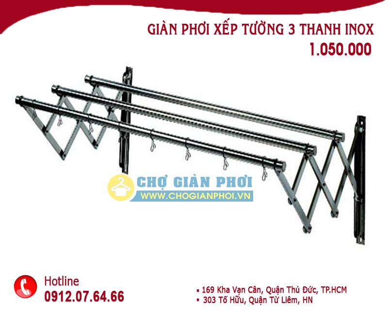 XEP TUONG INOX 1050 - Giàn phơi xếp ngang Inox HT-10