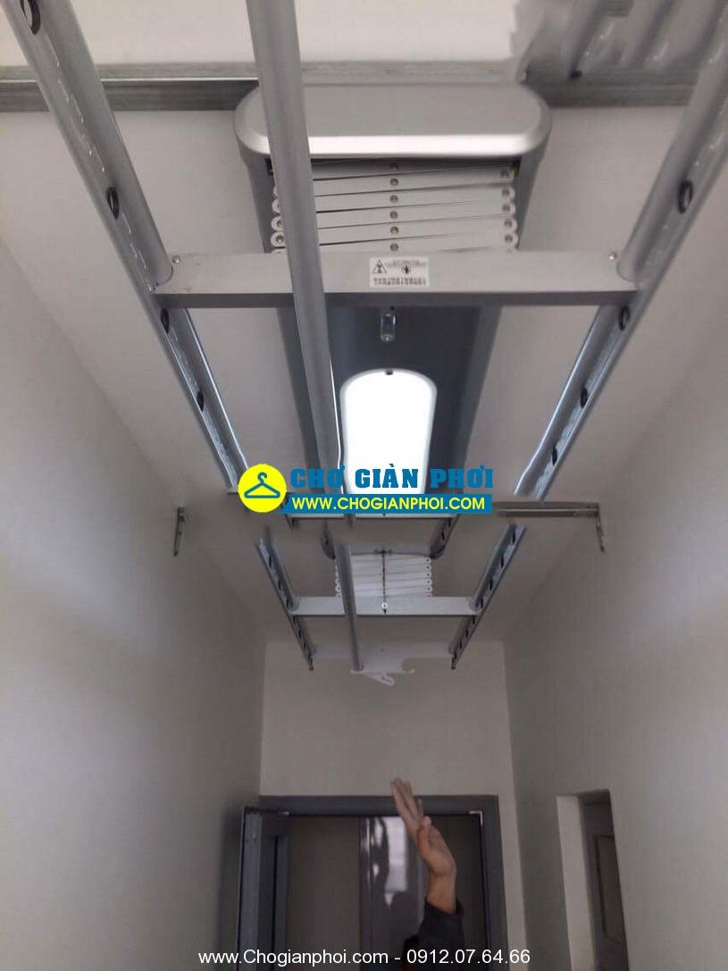 Lắp đặt giàn phơi tại Goldmark City- 136 Hồ Tùng Mậu tòa R3 nhà Chú Dũng ,bộ giàn phơi điều khiển H-tech GLT-7026-FS